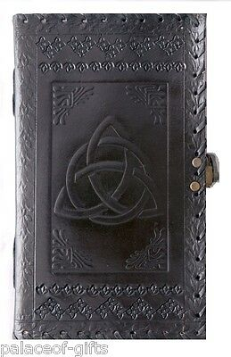 vintage look black triquetra knot handmade leather journal diary embossed 9 x 5