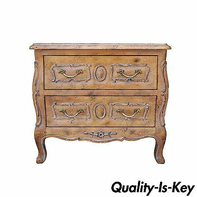 Vintage Miniature French Louis XV Style Italian Distress Finish Commode Chest