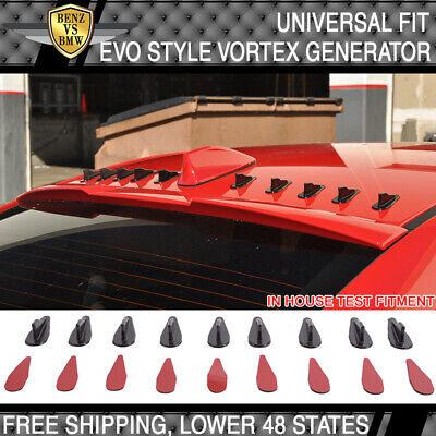 9pc VW Black Vortex Generator PP EVO-Style Roof Shark Fins Spoiler Wing Kit