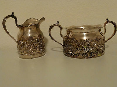 Pairpoint Quadruple Silver Plate Sugar Bowl and Creamer