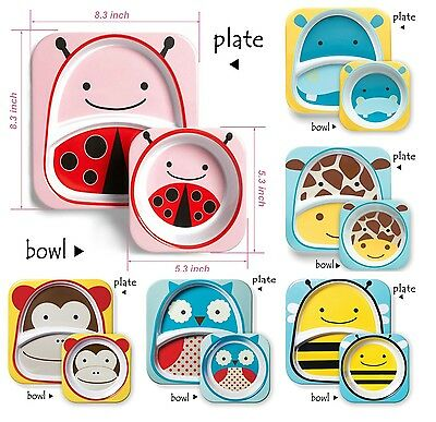 New, Baby Feeding Bowl and Plate Set Cute Zoo Utensils For Kid, Free Shipping!!!