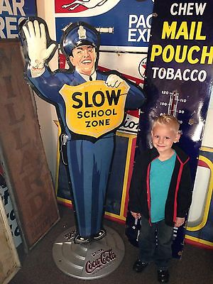 ORIGINAL 1953 Coca Cola Policeman School Zone Crossing Guard Metal Sign