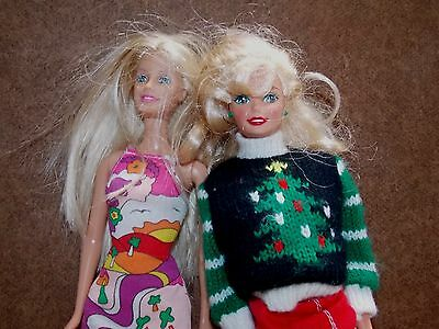 TWO BARBIES Barbie Dolls Mattel Copyright 1966 China & 1999 Indonesia Blond