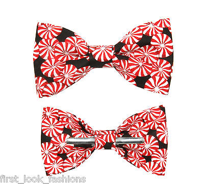 Christmas Black / Red Peppermint Candy Clip On Bow Tie