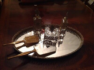 5 Piece Vintage Vanity set with mirror tray, perfume bottle & trinket box