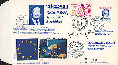 "CE42-Ed FDC Council Europe ""Mr. Vaclav HAVEL, Czechoslovakia"" 05-1990 AUTOGRAPH"