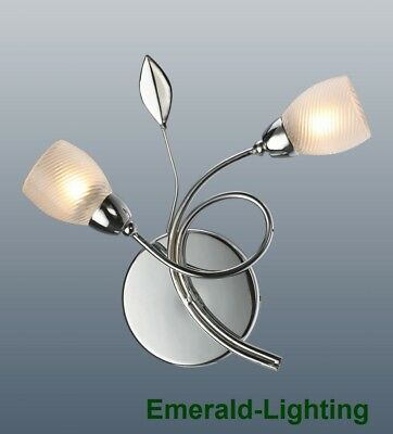 Contemporary 2 Arm Swirl Og Wall Light In Polished Chrome Finish Frosted Shades