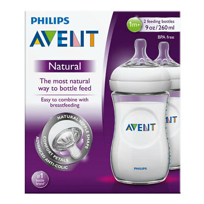 Philips Avent Natural Feeding Bottles Twin 2 Pack 260Ml Clear Baby Breastfeeding