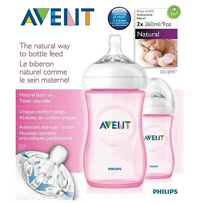 Philips Avent Natural Feeding Baby Bottle 260Ml X 2 Pack - Pink