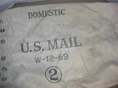 Vintage Canvas U.S. Mail Carrier Bag #2 Canvas Duffle Bag W-12-69 Draw String