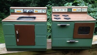 1970s-Tin Litho Toy KITCHEN SINK & STOVE SET-Green Copper Sears Kenmore