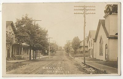 RPPC West Main Street, ROCKWOOD PA Somerset County 1910 Real Photo Postcard
