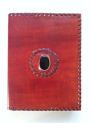 Journal Book Of Shadows Leather Cover Obsidian Gemstone Witchcraft Spells Wicca