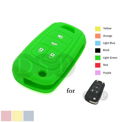 Silicone Skin Cover fit for CHEVROLET Flip Key Case Fob 4 Button Shell CV4603 RD