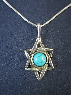 """Sterling Silver Star of David Turquoise Gemstone Pendant Necklace 18"""" 925 Chain"""