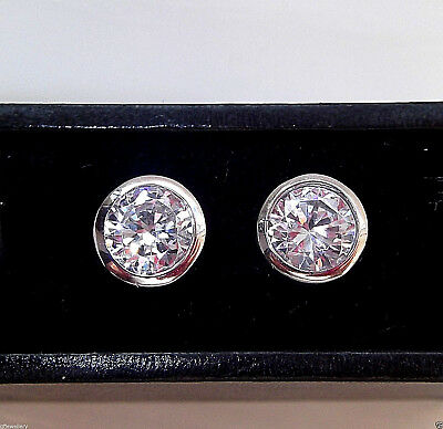 Rhodium Plated 925 Hallmarked Silver 6Mm Rubover Solitaire Stud Earrings