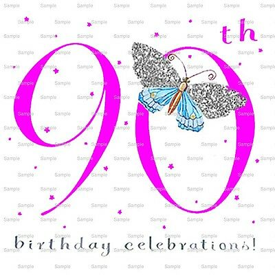 Happy 90th Birthday Frosting Sheet Cake Topper Edible D10034