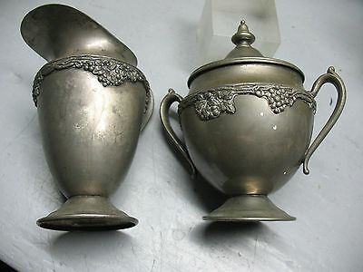 ANTIQUE   L. B.  SILVERPLATE  SUGAR BOWL / CREAMER  w/ GRAPE VINES  6'' TALL