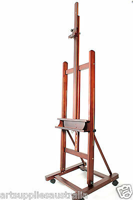 Large Studio H-frame Artist Easel with Mid moving bar, Hold canvas up to 215cm