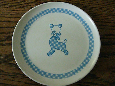 Vintage Melmac Tableware Boonton Child Plate blue white checkered dog  8203-7