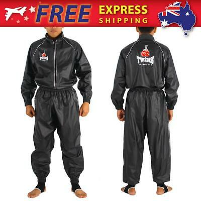 New Twins Muay Thai Boxing Warm up Sweat suit MMA Fight Gear VSS-1 Black M-XXL