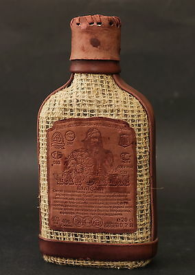 Charodei Balm Balsam Leather & Flax Covered Empty Bottle Belarus 1990s