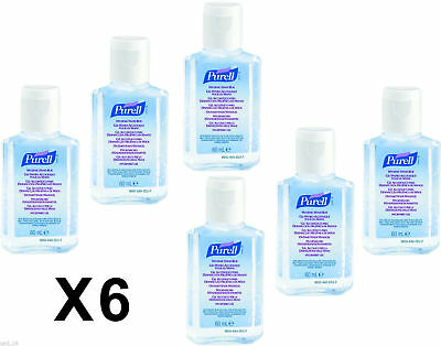 6 bottles Purell FLIP CAP Hand Sanitiser Rub Gel 60ml Travel Pocket Size Bottle