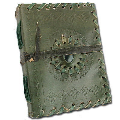 Medieval Renaissance Stone Middle Ages Leather Handmade Notebook Dark Green