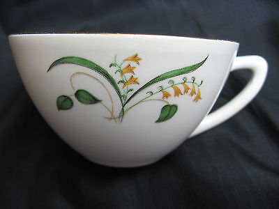 vtg mid century Edwin Knowles Forsythia china USA coffee cup gold gilt