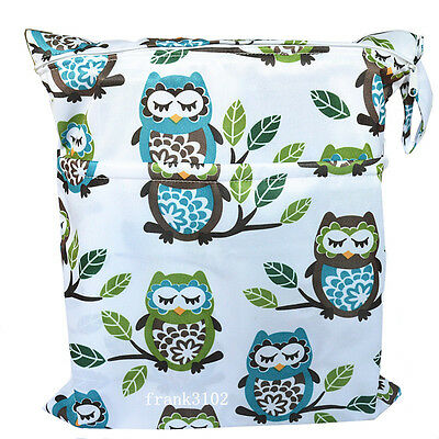 1 New Wet Dry Bag Baby Cloth Diaper Nappy Bag Reusable Two Zippers Owl&Tree