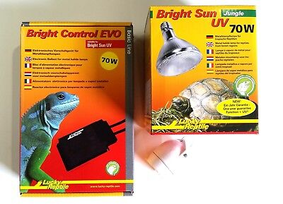 KOMPLETT-SET EVO Lucky Reptile Bright Sun UV Jungle 70 Watt NEU