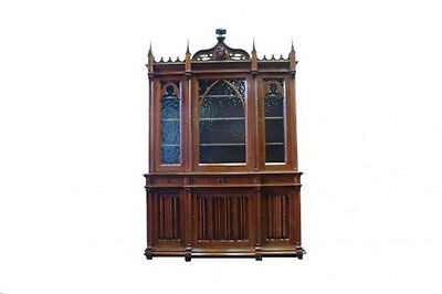 French Gothic Bookcase Gothic Display Cabinet in Oak 19th Century