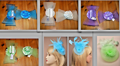 Wedding Races Ascot Prom Fascinator Large Bow or Comb Rosebud on Clip & Brooch