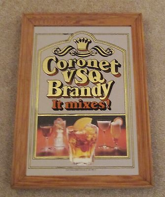 Vintage Coronet VSQ Brandy Bar Liquor Framed Mirror Pub Man Cave sign