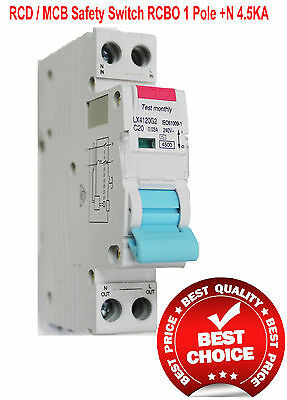 RCD / MCB Safety Switch Circuit Breaker RCBO 1 Pole +N 4.5Ka 32A