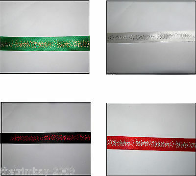 Luxury Selection Of Designer 15mm Wide  Christmas Ribbon- 3 metres-£1.99