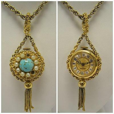 Endura Vintage Gold Tone Swiss Watch Pendant W/ Faux Turquoise & Pearls Tassel