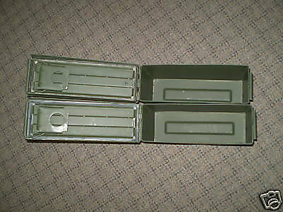 2 SMALL EMPTY 7.62 / 30 CAL METAL US ARMY AMMO CANS