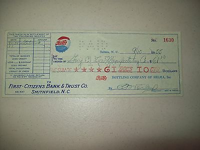 Original 1955 Pepsi-Cola Single Dot Check, Selma N.C.