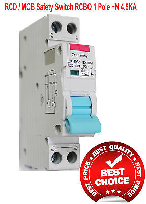 RCD / MCB Safety Switch Circuit Breaker RCBO 1 Pole +N 4.5Ka 25A