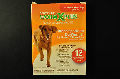 Sentry HC WormX Plus De-Wormer Chewables for Large Dogs, 12 Chewable Tablets
