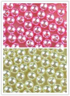Cream/Pink Acrylic Round Pearl Spacer Loose Beads 4mm 6mm 8mm 10mm