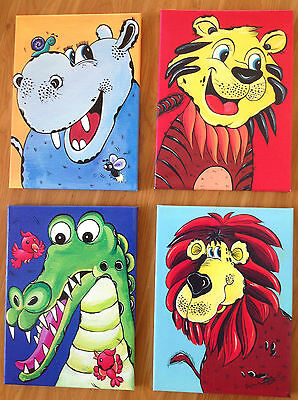 Set of 4 Prints on Canvas Jungle Art- Tiger, Hippo, Lion and Crocodile31x41cm ea