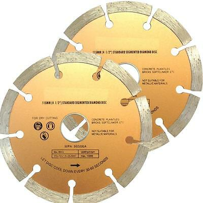 "(2 Discs) 115mm Segmented Diamond Cutting Disc for angle grinder 4.5"" Blade"