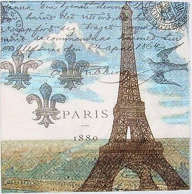 Pack of 20 Paris Eiffel Tower Cocktail Napkins for Decoupage and Paper Crafts