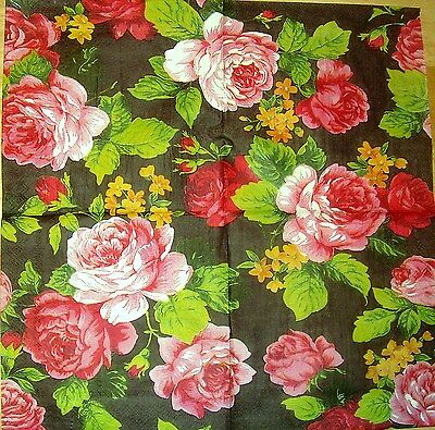 TWO Roses Paper Napkins for Decoupage and Paper Crafts