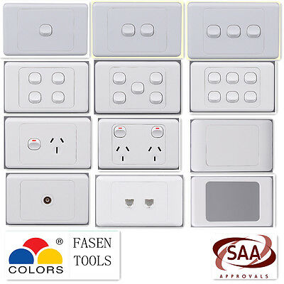 Wall Light Switch / Power Point Socket. GPO Outlet(inc 10pk deal)Plate White