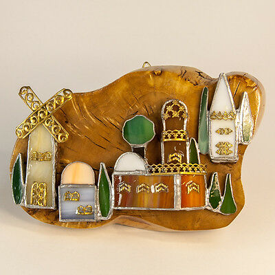 STAINED GLASS HAND MADE JERUSALEM POTO WITH OLIVE WOOD HOLY LAND SOUVENIR