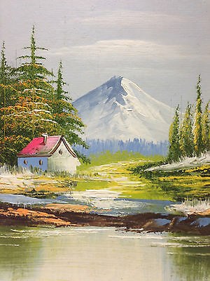 Vintage Painting of Cabin in the Woods 8 x 9