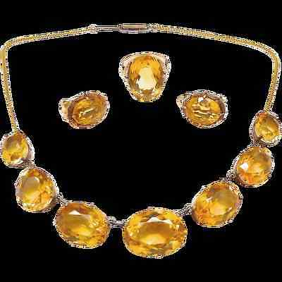 Antique Victorian Citrine Parure Jewelry Set 14K Gold (Necklace, Ring, Earrings)